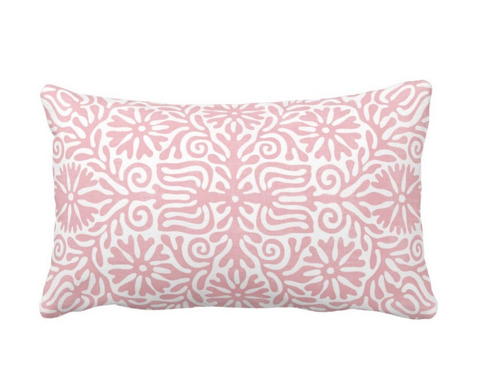 "Folk Floral Throw Pillow or Cover, Rosewood 14 x 20"" Lumbar Pillows or Covers, Light Pink/White, Flowers/Boho/Bohemian/Tribal/Geo"