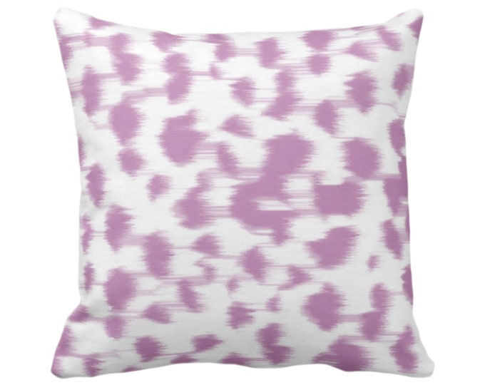 """OUTDOOR Ikat Abstract Animal Print Throw Pillow or Cover 14, 16, 18, 20, 26"""" Sq Pillows/Covers, Light Purple/White Dots/Spots/Geo/Leopard"""