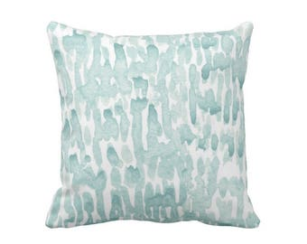 """READY 2 SHIP - SALE Raindrops Abstract Throw Pillow or Cover, Lagoon/White 18"""" Sq Pillows or Covers, Hand-Dyed Print, Dusty Blue/Green"""