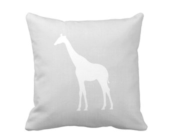 "Giraffe Silhouette Throw Pillow or Cover, Gray/White 16, 18, 20 or 26"" Sq Pillows/Covers, Light Grey, Neutral Nursery/Safari/Jungle Animals"
