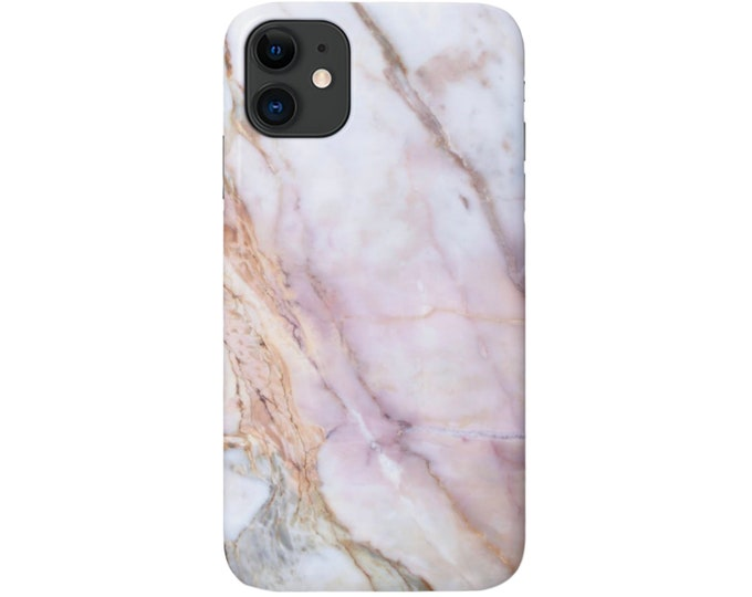 Pink Marble iPhone 11, XS, XR, X, 7/8, 6/6S, Pro/Max/P/Plus Snap Case or TOUGH Protective Cover, Veined Faux Stone/Marbled Print Galaxy lg