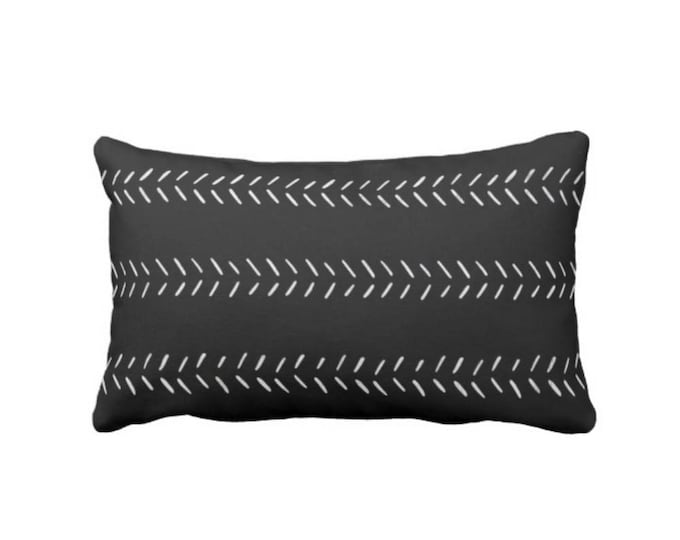 "Mud Cloth Arrows Print Throw Pillow or Cover, Black/Off-White 14 x 20"" Lumbar Pillows or Covers, Mudcloth/Tribal/Geometric/Lines"