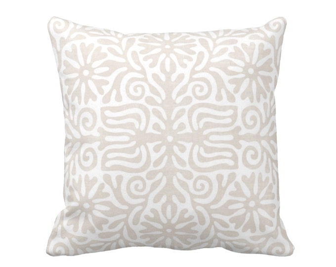 "OUTDOOR Folk Floral Throw Pillow or Cover, Linen/White 16, 18 or 20"" Sq Pillows or Covers, Beige/Tan Mexican/Boho/Bohemian/Tribal"
