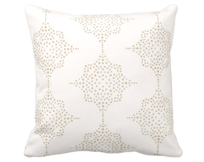 """OUTDOOR Block Print Stars Throw Pillow or Cover, Camel & Ivory 16, 18 or 20"""" Sq Pillows or Covers, Beige Geometric/Geo/Blockprint/Boho"""