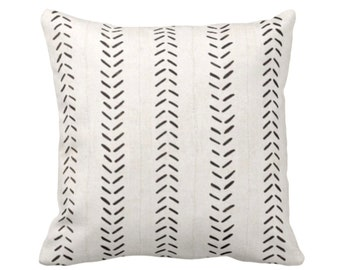 """OUTDOOR Sale/Ready 2 Ship Mud Cloth Print Throw Pillow Covers, Off-White/Black 18, 20"""" Sq Pillow Covers, Mudcloth/Boho/Arrows/Tribal/Design"""