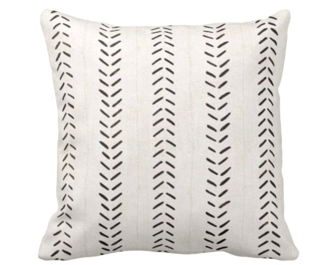 "OUTDOOR - READY 2 SHIP Mud Cloth Print Throw Pillow Covers, Off-White/Black 16, 18, 20"" Sq Pillow Covers, Mudcloth/Boho/Arrows/Tribal/Design"