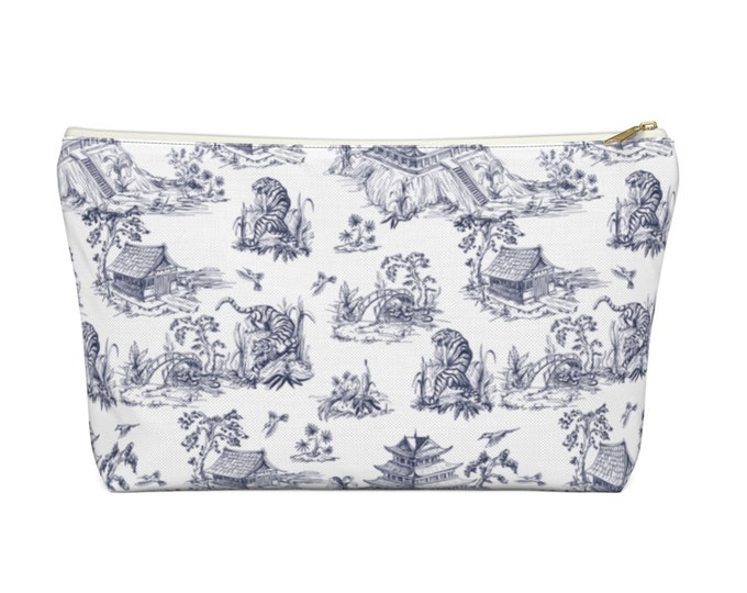 Tiger Toile Print Zippered Pouch, Navy Blue/White Pattern, Cosmetics/Pencil/Make-Up Organizer/Bag, Pagoda/Temple/Chinoiserie Design/Pattern