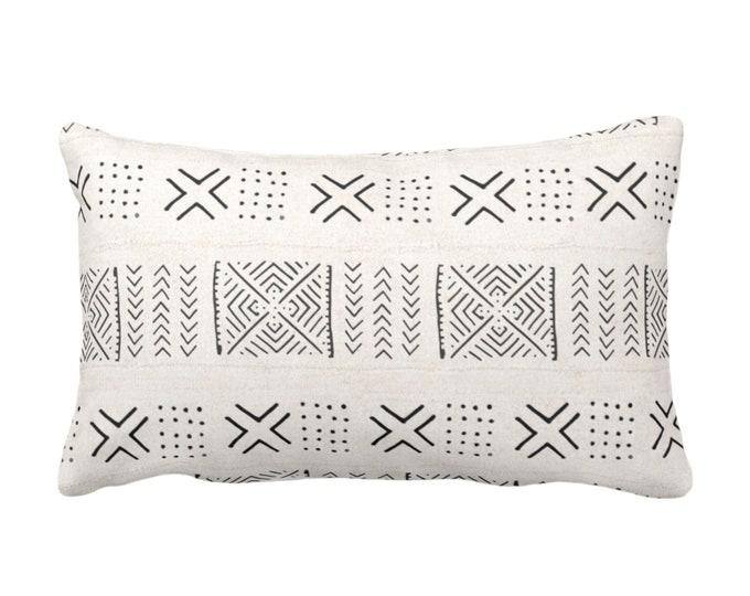 "OUTDOOR Mud Cloth Throw Pillow or Cover, Diamond, X & Dots Off-White/Black Print 14 x 20"" Lumbar Pillows/Covers, Mudcloth/Tribal/Geometric"