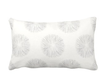 "Sea Urchin Print Throw Pillow or Cover, Smoke/Off-White 14 x 20"" Lumbar Pillows or Covers, Light Gray/Grey Abstract Geometric Pattern"
