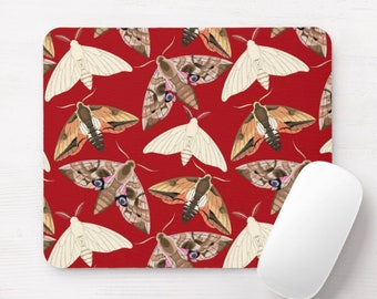 Moth Print Mouse Pad, Red Vintage Insects/Bug Print Mousepad, Off-White/Beige/Brown Spots/Moths