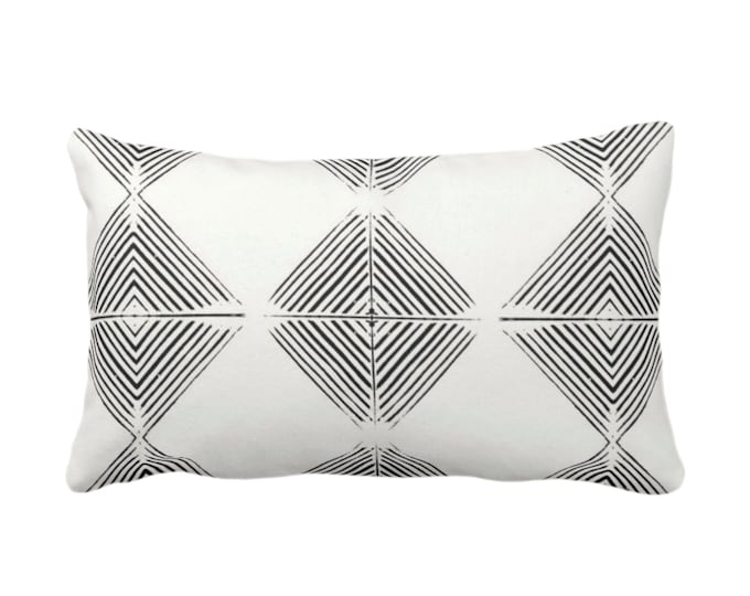 """OUTDOOR Tribal Diamond Geometric Throw Pillow/Cover, Black/Off-White Print 16, 18, 20 or 26"""" Sq Pillows/Covers, Geo/Lines/Triangles/Modern"""