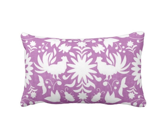 "OUTDOOR Folk Floral Throw Pillow or Cover, Purple/White 14 x 20"" Lumbar Pillows/Covers, Bright Mexican/Boho/Bohemian/Tribal/Flower"