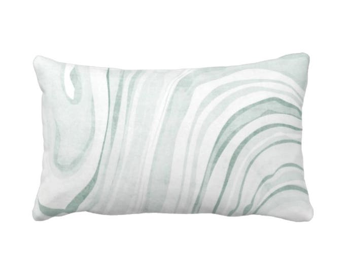 """OUTDOOR Marble Paper Print Throw Pillow or Cover Sage/White 14 x 20"""" Lumbar Pillows/Covers, Modern/Abstract Dusty Light Green Pattern"""