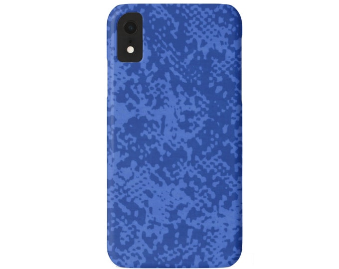 Abstract Animal Print iPhone 11, XS, XR, X, 7/8, 6/6S Pro/Max/Plus/P Snap Case or TOUGH Protective Cover Cobalt/Bright Blue Snake/Reptile