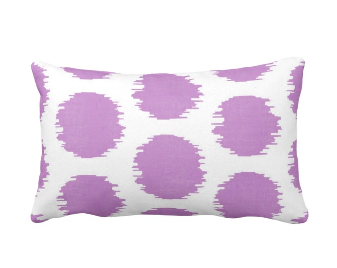 "OUTDOOR Ikat Dot Throw Pillow or Cover, Purple/White 14 x 20"" Lumbar Pillows or Covers, Dots/Spots/Spot/Circles/Polka/Dotted Print/Pattern"