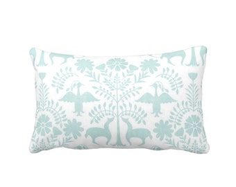"OUTDOOR Otomi Throw Pillow or Cover, Jade/White 14 x 20"" Lumbar Pillows/Covers, Mexican/Boho/Floral/Animals Blue/Green Print/Pattern"