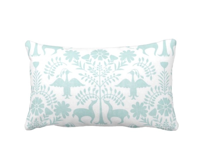 "Otomi Throw Pillow or Cover, Jade/White 14 x 20"" Lumbar Pillows or Covers, Mexican/Boho/Floral/Animals Blue/Green Print/Pattern"