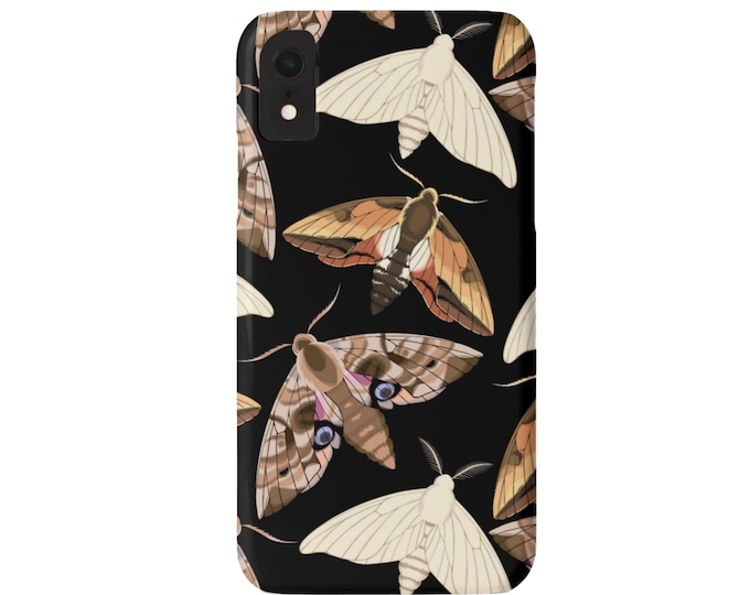 Moth Print iPhone XS, XR, X, 7/8, 6/6S P/Plus/Max Snap On Case or TOUGH Protective Cover, Modern Black Insect/Butterfly/Bug/Bugs Pattern