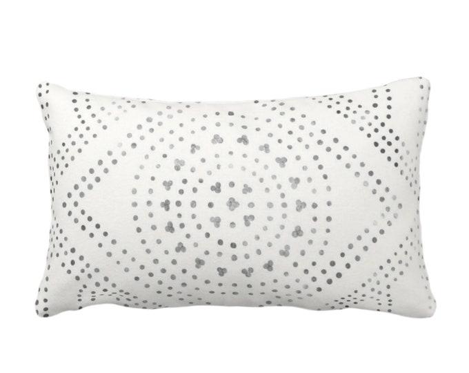 "OUTDOOR Batik Diamond Medallion Print Throw Pillow or Cover, Off-White/Gray/Black 14x20"" Lumbar Pillows/Covers, Geo/Boho/Tribal/Hmong Design"