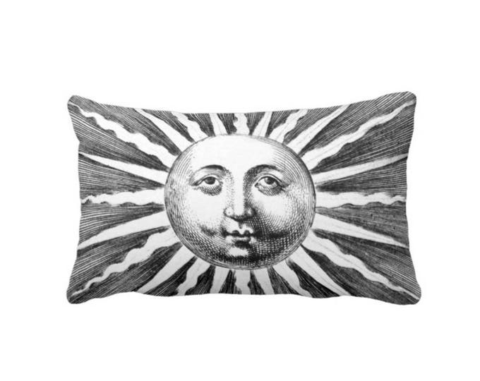 "Fornasetti Sun Rays Lumbar Throw Pillow or Cover, Modern Black/White 14 x 20"" Pillows or Covers, Vintage/Starburst/Sunrays/Celestial"