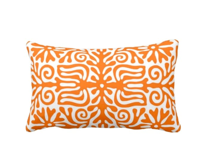 "OUTDOOR Folk Floral Throw Pillow or Cover, Orange/White 14 x 20"" Lumbar Pillows or Covers, Bright Mexican/Boho/Bohemian/Tribal/Flower"