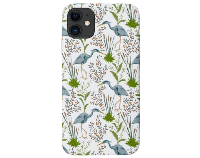 Blue Heron iPhone 11, XS, XR, X, 7/8, 6/6S, Pro/Max/P/Plus Snap Case or Tough Protective Cover, Toile/Birds/Bird Nature/Naturalist Pattern