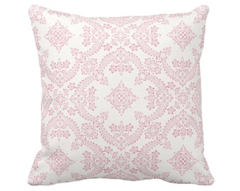 "OUTDOOR Priano Print Throw Pillow or Cover, Pink/White 14, 16, 18, 20, 26"" Sq Pillows/Covers, Floral/Geometric/Medallion/Trellis Pattern"