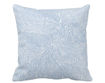 "OUTDOOR Sulcata Geo Throw Pillow or Cover, Sky Blue & White 16, 18 or 20"" Sq Pillows/Covers, Abstract Geometric/Tribal/Lines/Wavy Pattern"