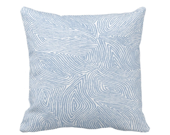 """OUTDOOR Sulcata Geo Throw Pillow or Cover, Sky Blue & White 16, 18 or 20"""" Sq Pillows/Covers, Abstract Geometric/Tribal/Lines/Wavy Pattern"""