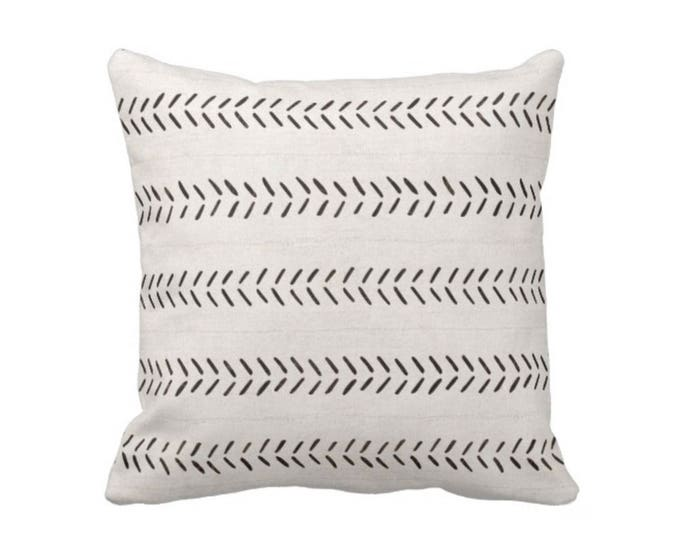 "SALE - READY 2 SHIP Mud Cloth Print Throw Pillow/Cover, Boho/Ethnic Off-White Black Geometric Arrows 16"" Sq, Mudcloth African Tribal Pattern"