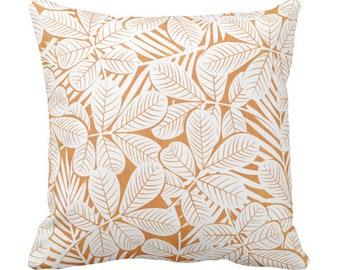 "Modern Leaves Throw Pillow or Cover Mango/White Print 16, 18, 20 or 26"" Sq Pillows or Covers Light Orange Retro Tropical Botanical Print"