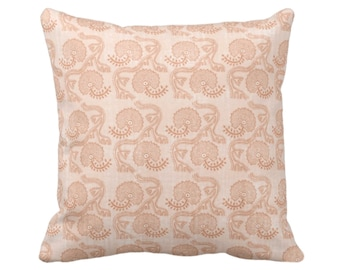 "Block Print Floral Throw Pillow or Cover, Dusty Coral 16, 18, 20 or 26"" Sq Pillows or Covers, Earthy Orange Flower/Batik/Geo/Boho Pattern"