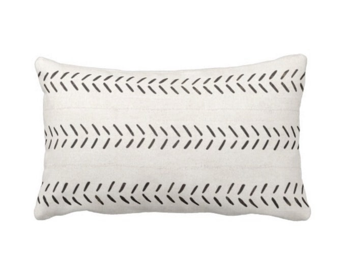 "Mud Cloth Throw Pillow or Cover, Off-White/Black Arrows Print 14 x 20"" Lumbar Pillows or Covers, Mudcloth/Tribal/Geometric/Geo"