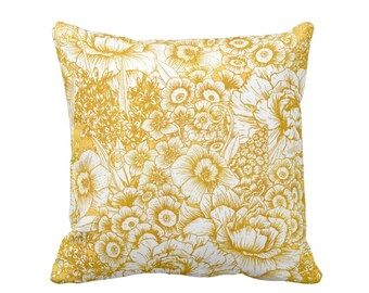 "OUTDOOR Retro Floral Throw Pillow or Cover, Mustard Seed & White 16, 18 or 20"" Square Pillows or Covers, Dark Yellow/Gold/Goldenrod"