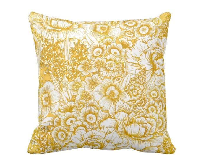 "Retro Floral Throw Pillow or Cover, Mustard Seed & White 16, 18, 20 or 26"" Square Pillows or Covers, Dark Yellow/Gold/Goldenrod"