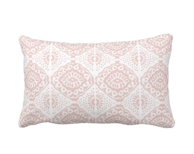 "Block Print Medallion Throw Pillow or Cover, Pink/White 14 x 20"" Lumbar Pillows or Covers, Geometric/Batik/Boho/Blockprint Pattern/Print"