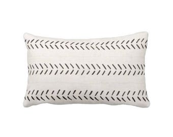 "OUTDOOR Mud Cloth Printed Throw Pillow/Cover, Off-White/Black Arrows Print 14 x 20"" Lumbar Pillows/Covers, Mudcloth/Tribal/Geometric"