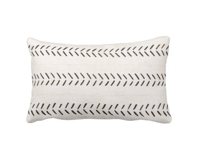 """OUTDOOR Mud Cloth Printed Throw Pillow/Cover, Off-White/Black Arrows Print 14 x 20"""" Lumbar Pillows/Covers, Mudcloth/Tribal/Geometric"""