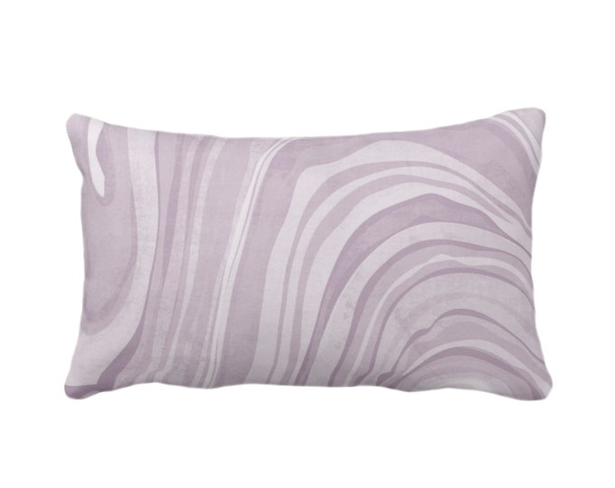 "OUTDOOR Marbled Throw Pillow/Cover, Iced Lavender 14 x 20"" Lumbar Pillows/Covers Dusty Purple Abstract/Waves/Marble Painted Print/Pattern"