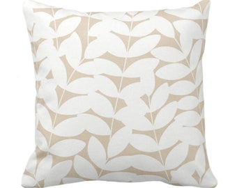 """Stems Throw Pillow or Cover Sand/White Print 14, 16, 18, 20, 26"""" Sq Pillows/Covers, Neutral Beige Modern Botanical/Leaves Pattern/Design"""