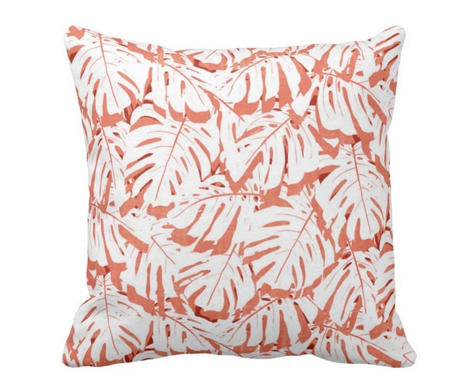 "OUTDOOR Palm Print Throw Pillow or Cover, Coral/White 16, 18 or 20"" Square Pillows or Covers, Pink/Orange/Red Tropical Leaf Pattern"