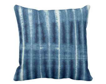 "Indigo Mud Cloth Print Throw Pillow or Cover, Geometric Lines 16, 18, 20, 26"" Sq Pillows or Covers, Blue Mudcloth/Stripes/Stripe"
