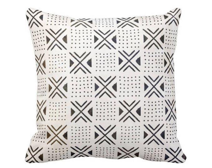 "Mud Cloth Print Throw Pillow or Cover, X's/Dots Off-White/Black 16, 18, 20, 26"" Sq Pillows or Covers, Mudcloth/Geo/Boho/Tribal"