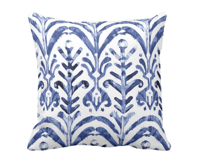 """SALE - OUTDOOR - Watercolor Print Throw Pillow Cover, Indigo/White 18"""" Sq Pillow Covers, Blue/Navy Ikat/Boho/Pattern/Design"""