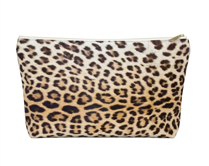 Leopard Print Zippered Pouch, Animal Printed Design, Cosmetics/Pencil/Make-Up Organizer/Bag, Camel/Beige/Black/Caramel Spots/Spot Pattern