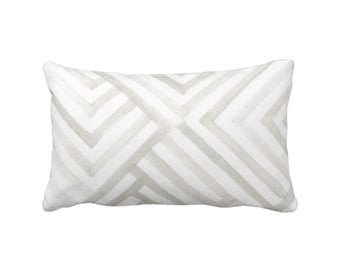 "OUTDOOR Subtle Geometric Throw Pillow or Cover, Gray/White 14 x 20"" Lumbar Pillows/Covers, Watercolor/Geo/Stripes/Lines Print/Pattern"