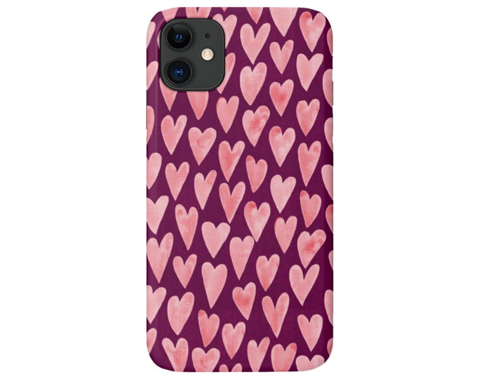 Watercolor HEARTS iPhone 11, XS, XR, X, 7/8, 6/6S Pro/Max/Plus/P Snap Case or Tough Protective Cover Rose Pink/Burgundy Heart Print/Pattern