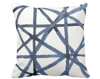 "OUTDOOR -READY 2 SHIP Painted Lines Throw Pillow or Cover, White/Navy 20"" Sq Pillows Covers, Dark Blue Modern/Lines/Star/Geometric/Geo Print"
