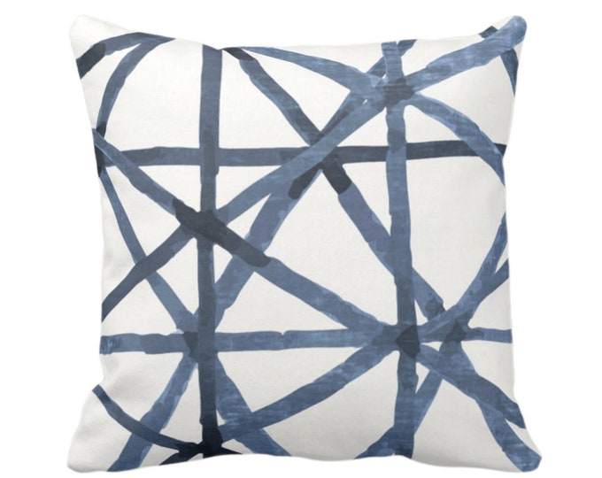 """OUTDOOR -READY 2 SHIP Painted Lines Throw Pillow or Cover, White/Navy 20"""" Sq Pillows Covers, Dark Blue Modern/Lines/Star/Geometric/Geo Print"""
