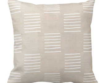 """Mud Cloth Lines Printed Throw Pillow or Cover, Clay/White 14, 16, 18, 20, 26"""" Sq Pillows/Covers, Mudcloth/Boho/Geometric/African/Tribal/Geo"""